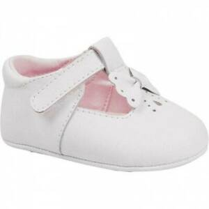 Baby Deer White Leather T-Strap Shoes with Bow  Size 3
