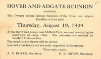 Lima~Hover & Adgate Family Reunion~Merryman Home~Western Ohio Trolley Line 1909