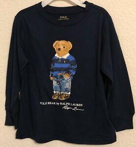 NWT Polo Ralph Lauren Little Boys Kids Rugby Bear Jersey Tee L/S Navy Blue Sz 5