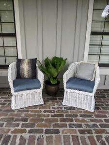 Wicker Chairs Braided Boho Patio Coastal Accent Beach Side Tropical