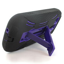 For Huawei Ascend II Impact Hard Rubber Case Phone Cover Kickstand Black Purple