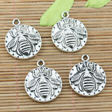 6pcs tibetan silver color 2sided round bee design charms EF2274