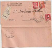ITALIA 1945 RACCOMANDATA CON RICEVUTA DI RITORNO DA TORINO PER CIRIE TO