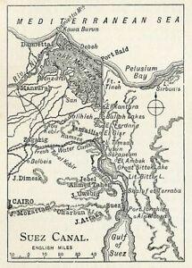 c. 1897 Suez Canal  Original Antique Print
