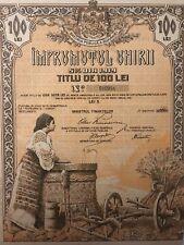 1919 Public Debt of Romania 100 Lei – State UNC Bond  titlu  Imprumutul Uniri
