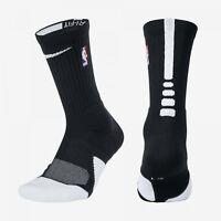 NBA Nike Elite 1.5 Cushioned Crew Black WHT Basketball Socks MSRP $18 SX5867-010