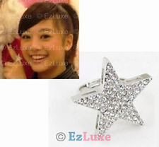 Korean K-POP drama Japanese fashion Cubic CZ Large Angel Star Ring