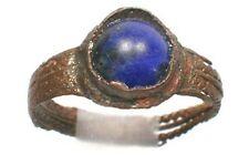 AD1100 Medieval Roman Byzantine Ephesus Sz9¼ Ring + 1¾ct Afghan Lapis Lazuli Gem