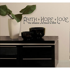 Quote: FAITH HOPE LOVE wall stickers room decor 12 decals inspirational