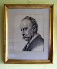 Lavierte Bleistiftzeichnung, 19.Jahrh., Selbstportrait?, gerahmt 62x53 cm