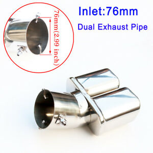 Chrome 3 Inch 76mm Inlet Dual Exhaust Pipe Auto Tailpipe Rear Muffler Tip Cover
