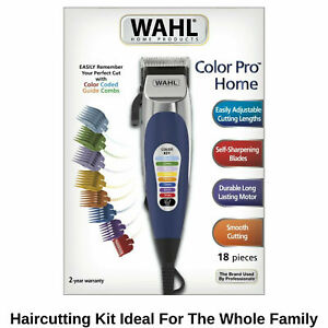 Wahl Colour Pro Electric Hair Clippers 18pc Home Haircut Kit Groomer Clipper New