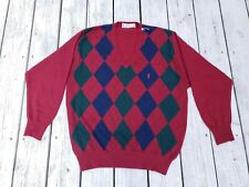 Vintage RARE (YSL) Yves Saint Laurent BIG logo Argyle V~Neck Sweater -few holes