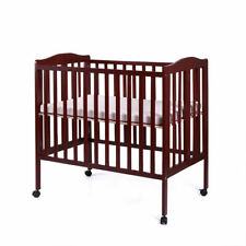 Espresso Baby Toddler Bed Kids Children Wood Bedroom Furniture w/Safety Rails