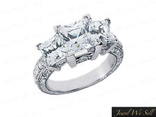 1.50ct Princess Diamond Three Stone Antique Ring 14kt White Gold I SI2 Accents