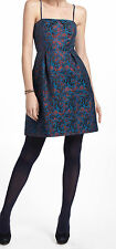 LeifNotes Paprika Brocade Dress Size 12 Petite Blue Motif NW ANTHROPOLOGIE Tag