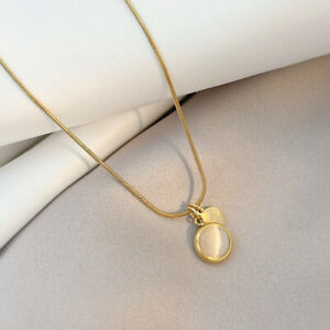 Woman 18k Gold Plated Stainless Steel Oval Simulated Opal Pendant Necklace