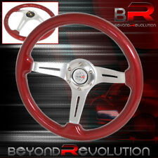 For Chevy Drift Drag Steering Wheel Red Wood Aluminum Center Steering Wheel