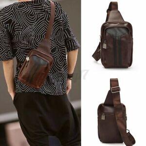 Men's Business Leather Backpack Sling Chest Messenger Crossbody Shoulder Bag !