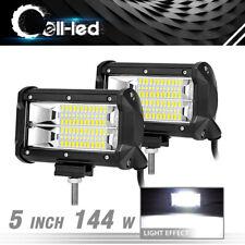2x 5inch 144w flood led car off road work light bar fog driving drl lamp 12v