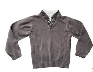 GYMBOREE Boys Half Buttoned Pullover Sherpa Collar Brown Sweater Size 7