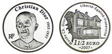 1 1/2 SILVER EUROS FRANCE/PLATA FRANCIA. 2007. CHRISTIAN DIOR MUSEUM. PROOF.