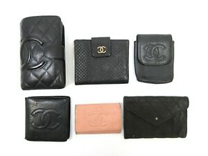 Auth 6 Item Set CHANEL Wallet Pouch Key Case Caviar Skin Cambon Leather 93527