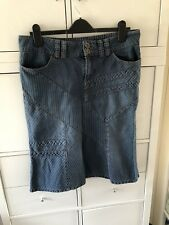 Vintage Topshop Moto Blue Denim Jean Cotton Skirt Size 14 Belt Panelled  Flared