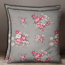 S4Sassy Decorative 1 Pair Square Floral Print Cotton Poplin Gray Cushion Cover