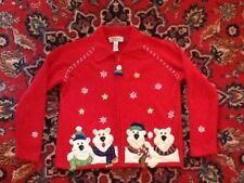 Tiara International Polar Bears Zip Christmas Sweater L Not Ugly EUC