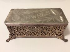 Art Nouveau Victorian Silver Jewelry Trinket Casket Box JEWELS, LEAF ETCH
