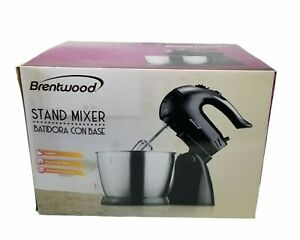 Brentwood SM-1153 Black 5-Speed + Turbo Stand Mixer Beaters Dough Hooks New