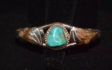Bracelet Native American Fox Turquoise Sterling Silver By Navajo Artist Les Hill
