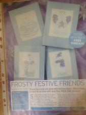 cross stitch chart CHRISTMAS CARDS X 4 Frosty Festive Friends