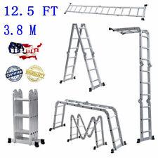 New Listing125ft Aluminum Telescopic Ladder Heavy Duty Folding Step Extension Multi Tool