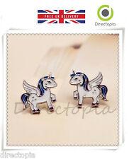 Mágico Kawaii Blanco Unicornio Caballo Pegasus Aretes Mini Caja De Regalo Incluido