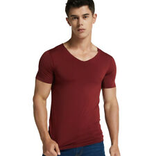 Men's T-shirt Ice Silk Short Sleeve V Neck Top Seamless Sports Fitness Shirts AU