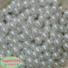 12mm White Acrylic Faux Pearl Bubblegum Beads Lot 40 pc.chunky gumball