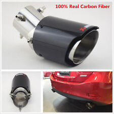 63-89mm Glossy Universal Real Carbon Fiber Car Exhaust Pipe Tail Muffler End Tip