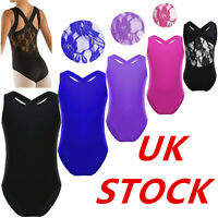 UK Girls Lace Back Ballet Dance Bodysuit Gymnastic Leotards Sleeveless Unitards