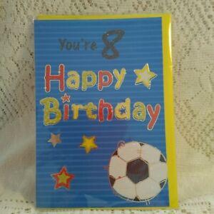 REGENT Boys 8  Years Old Birthday Card - FOOTBALL - New Old Stock