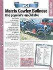 Morris Cowley Bullnose 1923 Great Britain Grande Bretagne Car Auto FICHE FRANCE