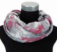 Loop grau pink weiß Pferde by Ella Jonte Pferd Damenschal Schal Horse new in