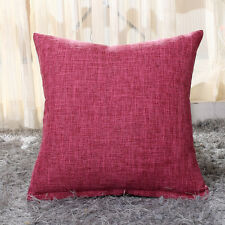 Vintage Cotton Linen Pillow Case Home Decor Sofa Waist Throw Cushion Solid Cover