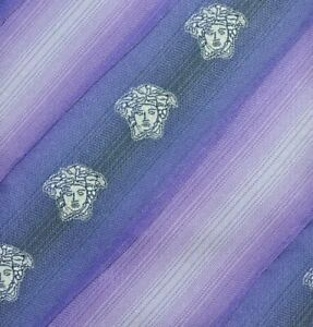 VERSACE MEDUSA Tie MADE IN ITALY 100% Silk Purple Color L57 W3.6