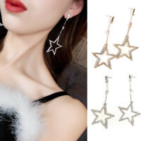 Party Rhinestone Hollow Five-pointed Star Hanging Earrings Women Fashion Jewelry
