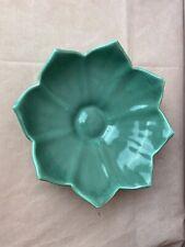 Vintage Camark Green Pottery Leaf Flower Bowl Centerpiece Dish USA