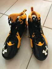 Mens Under Armour Clutch Fit Cleats Size16 Black & Yellow Lace Closure
