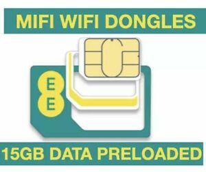 EE DATA SIM 15GB, PRELOADED WITH 15GB DATA FOR MIFI WIFI ROUTER DONGLE