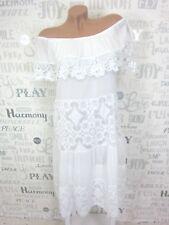 Schönes Carmen Kleid long Tunika unterlegt Häkel Spitze IBIZA 38 40 42 Weiß E370